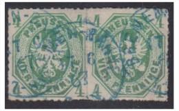 ALLEMAGNE -- PRUSSE -- MiNr 14 -- PAIRE HORIZONTALE -- OBLITERATION BLEUE DE BRËME -- 1867 - Preussen