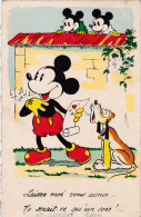 1938 Mickey Mouse In Love Amoureux Disney Walt Old Original Hond Dog Chien Pluto Postcard Séphériadès Hasselt Post - Disney