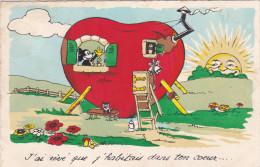 1938 Mickey Mouse Disney Walt Old Original  Postcard Séphériadès Hasselt Post Poes Cat Chat Mushroom Champion - Autres