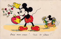 1938 Mickey Mouse In Love Amoureux Coeur Hart Disney Walt Old Original  Postcard Séphériadès Hasselt Post Humor Mini - Disney