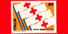 Nuovo - MNH - ITALIA - 1980 - 1° Mostra Internazionale Del Francobollo Della Croce Rossa - 80 L. • Bandiere - 6. 1946-.. Repubblica