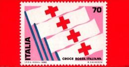 Nuovo - MNH - ITALIA - 1980 - 1° Mostra Internazionale Del Francobollo Della Croce Rossa - 70 L. • Bandiere - 6. 1946-.. Repubblica