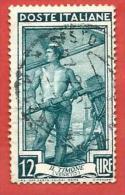 ITALIA REPUBBLICA - USATO - 1950 - Italia Al Lavoro - Veneto, Il Timone - £ 12 - S. 640 - 1946-60: Usados