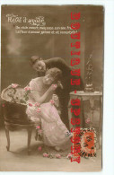 4 CARTES AMOUREUX - FEMME + HOMME - AMOUR - FIANCEE COUPLE - TOUS Les SCANS RECTO VERSO VISIBLES - Ansichtskarten
