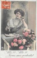Jeune Femme Au Téléphone - Allo! Allo! Tous Mes Souhaits - Carte LYS Colorisée N°2007 - Vrouwen