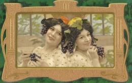 Couple Femmes Dans Un Cadre - Grappes De Raisins - Litho Kopal - Frauen
