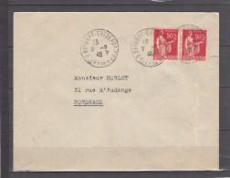 Lot De 2 Lettres TAXEES Annees 1940 Et 1941 Pour BORDEAUX  Iris 1f Rouge - 1859-1955 Covers & Documents