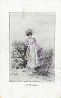 Jeune Femme Belle Epoque - Les Oiseaux - Illustration Signée H. Sc. (?) - Vrouwen