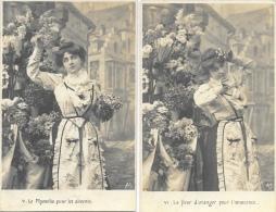 Jeune Femme Et Fleurs: Myosotis, Fleur De Lys, Narcisse, Fleur D´oranger - Lot De 4 Cartes A.S. Non Circulées - Frauen
