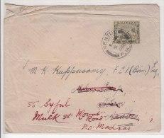Selangor Used 8c Mosque On Cover 1938, Malaya To Aden Redirect To India - Selangor