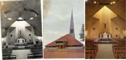 10. FONTAINE Les GRES Eglise Sainte-Agnes 3 CPSM + Plaquette 20 Pages 1956 Architecte MAROT Michel 3 Scans - Non Classés