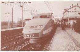 TGV Premier Voyage Meximieux Perouges  Ain Paris 23/4/1988 Sou Des Ecoles Laiques Numerotée - Treni