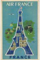 Air France Pub Année 50 Signée Originale Repro Affiche Hubert Baille Tour Eiffel - 1946-....: Modern Era