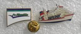 FERRY LE SHUTTLE  & SEALINK 2 PIN'S    XXX   148 - Schiffahrt