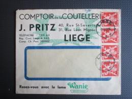 """Nr 680(strook Van Vier) Op Brief Verstuurd Binnen Liège """"Comptoir De La Couteller.. J.Pritz"""" - Belgium"""