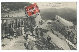 """PUY DE DÔME - Arrêt Du Tramway Au Grand Rocher Et Chaîne Des Puys Nord - Animée - Cachet """"Auberge Du Temple De MERCURE"""" - France"""