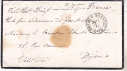 1871 Lettre D'un Otage Français Prisonnier à Bremen Pour Dijon, Mentions Manuscrites De Dispense De Port Payant. Beau Do - Marcophilie (Lettres)