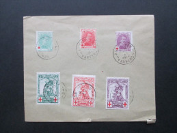 Belgien 1914 Rotes Kreuz Nr. 104 - 106 Und 107 - 109 Auf Einem Umschlag! Satzbrief! KW Für Gestempelt: 65€ - 1914-1915 Rotes Kreuz