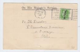 New Zealand/Italy OHMS POSTAL CARD 1932 - Storia Postale