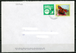 ESTONIA Estland Eesti Postal Cover Cancelled 2014 - Stamp The European Peacock Butterfly - Estonia