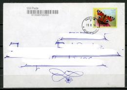 ESTONIA Estland Eesti Postal Cover Cancelled 2014 - Stamp The European Peacock Butterfly - Butterflies
