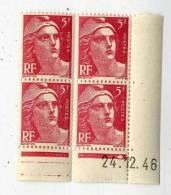 MARIANNE DE GANDON  5 F  -    Y & T N° 719 A   -  COINS DATES   24 12 46   -  SANS TRACE DE CHARNIERE - 1940-1949