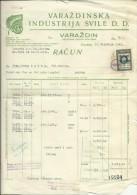 CROATIA, VARAZDIN   --  NEZAVISNA DRZAVA HRVATSKA, NDH --  FACTURE, INVOICE  -- 1942  --  TIMBRE FISCAL, TAX STAMP - Facturen & Commerciële Documenten