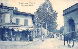 81 - Rabastens - Avenue St-Michel (Tabac Coiffeur) (cheval, Halle) - Rabastens