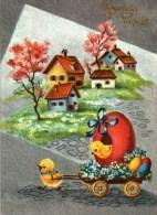 Carte Postale  -  Fête   -   Joyeuses Pâques -  Petits Poussins, Attelage Fleuri, Oeuf - Pâques