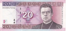 BILLETE DE LITUANIA DE 10 LITU DEL  AÑO 2001 CALIDAD EBC (XF)  (BANKNOTE) - Lithuania