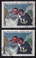 1966-Variété Tp N°1494-Crespin Et Scapin De Daumier-Teint Blafard-tête Auréolée Sur 1er+normal Foncé - Plaatfouten En Curiosa