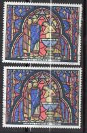 1966-Variété Tp N°1492-Vitrail De La Ste Chapelle--Normal + 1ére Colonne De Gauche Jaune Sur 2éme - Varieties: 1960-69 Used