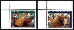 POLYNESIE 1986 - Yv. 266 Et 267 ** SUP Cdf  Faciale= 0,81 EUR - Construction D'une Pirogue (2 Val.) ..Réf.POL22412 - Französisch-Polynesien