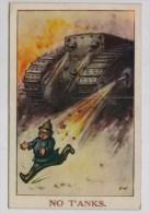 Britse Cartoon: Duitse Pinhelm Op De Loop Voor Vurende Tank - Patriotiques