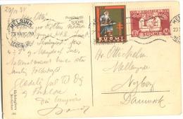 CHRISTMAS STAMP Santa Claus Anti-Tuberculosis 1935 + Kalevala 1 M 25 Red On Postcard To Denmark - Briefe U. Dokumente