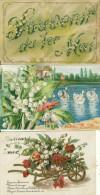 Lot De 3 Cpa  Souvenir Du 1er Mai  Doux Souvenir Meilleurs Voeux  Bouquet De Muguet  Brouette Cygnes - Holidays & Celebrations