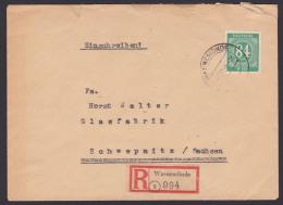 Warnemünde R-Bf 84 Pf. Einheitsausgabe I Ziffern Nach Schwepnitz - Gemeinschaftsausgaben