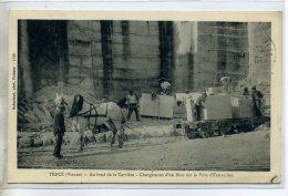 86 TIERCE Carriere Ouvriers Chargement Bloc Pierre Sur Voie D'extraction Attelage Cheval   écrite Du Village  /D04-2016 - Andere Gemeenten