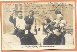 """CARTE PHOTO R.P.I. Mariage - Le Beau-père """" Ah Verse Encore""""  1903 - Marriages"""