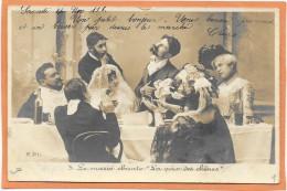 """CARTE PHOTO R.P.I. Mariage - Le Marié Chante """" La Voix Des Chênes """"  1903 - Marriages"""