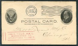 1903 USA Los Angeles Stationery Postcard 'Have Your Mail Addressed To Street & Number' Post Office Cachet - Etats-Unis