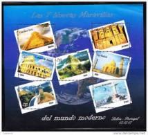 RT)2007 PERU,SHEET OF 7, THE SEVEN WONDERS OF THE WORLD,CHICHEN ITZA,TAJ MAHAL,COLISEO DE ROMA,LA GRAN MURALLA,MACHU PIC - Peru