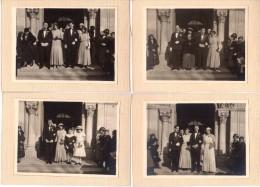 5 Photos Originales Cartonnées Mariage - 11 X 8 Cm - Bourgeois En Cérémonie De Mariage Années 20 - Mode - Smoking, Robes - Cars