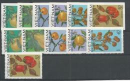 VIET NAM Du NORD - YVERT N°648/653 DENTELES + NON DENTELES NEUFS - FRUITS - Vietnam