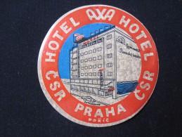 HOTEL MOTEL INN AXA PENSION PRAHA PRAGUE CSR CSSR CZECH CHEKOSLOVAKIA LUGGAGE LABEL ETIQUETTE AUFKLEBER DECAL STICKER - Etiquettes D'hotels