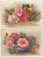 2 Cartes Roses Et Papillons Butterflies - Vlinders