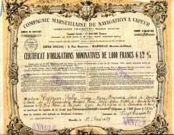 COMPAGNIE MARSEILLAISE De NAVIGATION à VAPEUR; Obligation - Transports