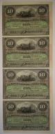 1896-BK-126 CUBA ESPAÑA SPAIN. 10$ 1896. UNC. BANCO ESPAÑOL DE LA ISLA. TIRA DE 4 CONSECUTIVA. - Cuba