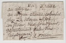 Pre266/PREUSSEN -   Par WESEL 1789. R.B. Düsseldorf, Bergische Postanstalt Am Niederrhein Nach Rourn - Duitsland