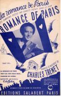 1941-BELLE PARTITION CHARLES TRENET CHANSON DU FILM LA ROMANCE DE PARIS - EXCELLENT ETAT -ARTHAUD ILLUSTRATEUR- - Compositeurs De Musique De Film